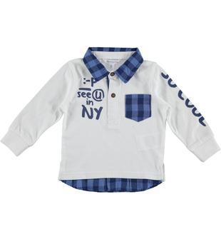 Polo con inserto finta camicia in jersey 100% cotone dodipetto BIANCO-0113