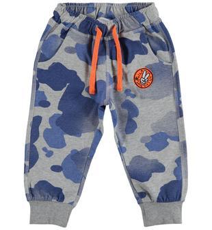 Pantalone fantasia mimetica 100% cotone dodipetto GRIGIO MELANGE-BLU-6S00
