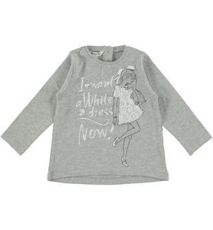Maglietta in cotone con stampa chic dodipetto GRIGIO MELANGE-8991
