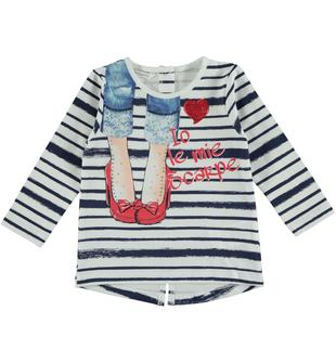 Maxi maglietta rigata in jersey stretch di cotone dodipetto BIANCO-BLU-6S32