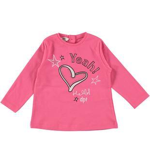 Maglietta in jersey 100% cotone con strass e cuore dodipetto FUXIA-2431