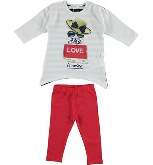Completo in cotone maxi maglietta rigata e leggings dodipetto BIANCO-ROSSO-8025