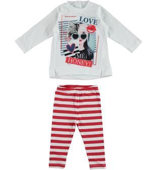 Completo 100% cotone formato da maxi maglietta e leggings rigati dodipetto BIANCO-ROSSO-8025