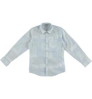 Camicia avvitata con manica lunga fantasia patchwork dodipetto BIANCO-BLU-6R96