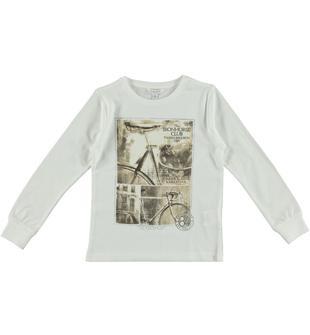 Maglietta in jersey 100% cotone con stampa vintage dodipetto BIANCO-0113