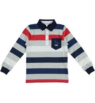 Polo rigata in jersey 100% cotone dodipetto ROSSO-2256