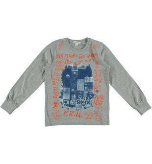 Maglietta in jersey di cotone con stampa dodipetto GRIGIO MELANGE-8992