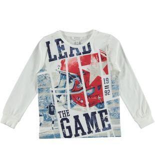 Maglietta in jersey 100% cotone con stampa baseball dodipetto BIANCO-0113