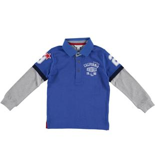 Polo in jersey 100% cotone con doppia manica a contrasto dodipetto ROYAL-3735