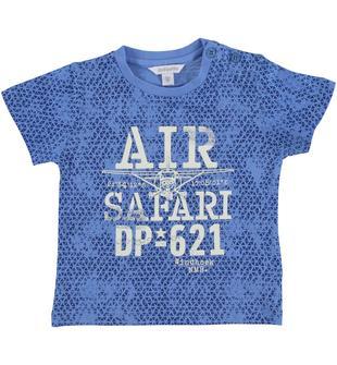 T-shirt con fantasia astratta a tutto campo in jersey 100% cotone dodipetto AVION-BLU-6T49