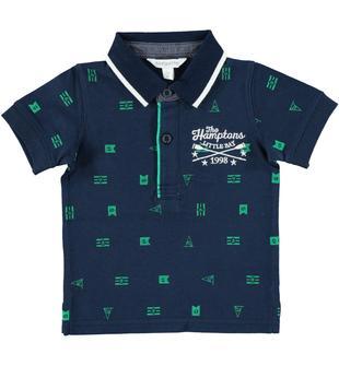 Polo con fantasia bandierine in jersey 100% cotone dodipetto BLU-VERDE-6W18