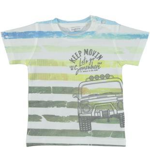 T-shirt in jersey con fantasia rigata e stampa dodipetto BIANCO-0113
