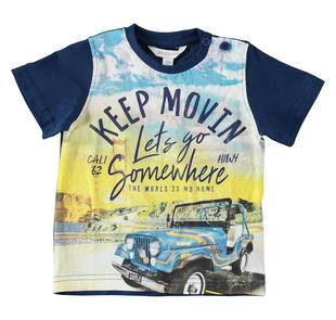 T-shirt con stampa ispirata alle vacanze estive in jersey 100% cotone dodipetto BLU INDIGO-3647