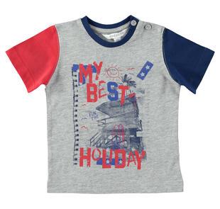 T-shirt in jersey di cotone con stampa frontale dodipetto GRIGIO MELANGE-8992