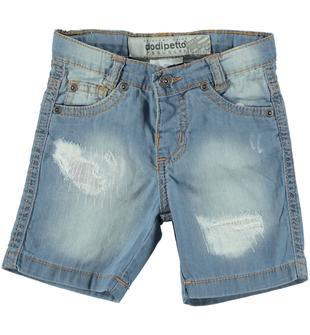 Pantalone corto di jeans 100% cotone dodipetto BLU CHIARO LAVATO-7310