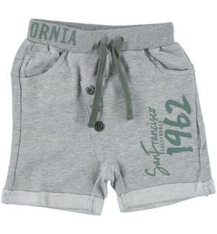 Pantaloncino 100% cotone con stampa frontale dodipetto GRIGIO MELANGE-8992