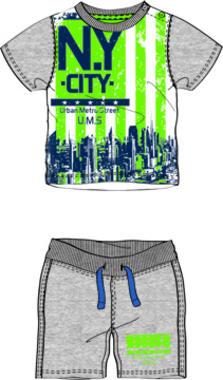 Completo due pezzi in jersey di cotone con stampa NY CITY dodipetto BIANCO-GRIGIO-8011