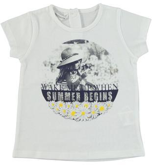 T-shirt in jersey di cotone con stampa fotografica impreziosita da strass dodipetto BIANCO-0113