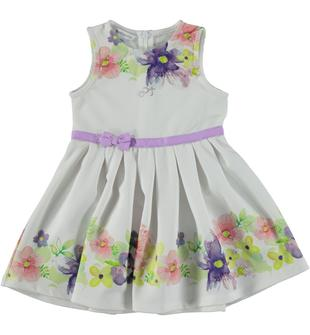 Vestitino in speciale tessuto arricchito con motivo floreale dodipetto BIANCO-0113