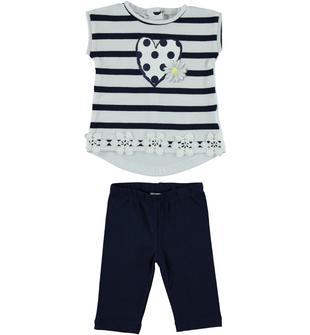 Completo in cotone formato da leggings e t-shirt smanicata dodipetto BIANCO-BLU-8216