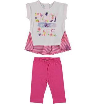 Completo in cotone formato da leggings pescatore e maxi t-shirt dodipetto ROSA-FUXIA-8072