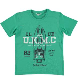 T-shirt in 100% cotone con stampa motivo motoscafo dodipetto VERDE-5034