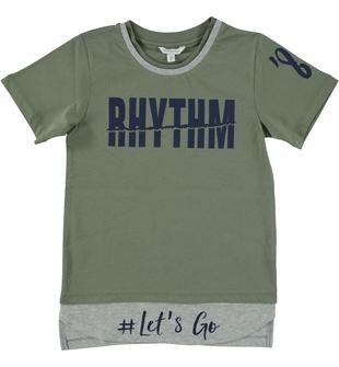T-shirt rap in jersey 100% cotone dodipetto VERDE SALVIA-4731