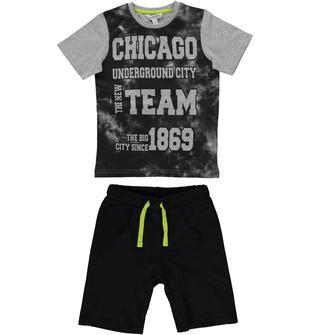 Completo in cotone con t-shirt mimetica e pantaloncino dodipetto GRIGIO-NERO-8067