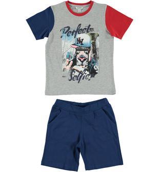 Completo in cotone con t-shirt simpatica stampa e pantaloncino dodipetto GRIGIO-BLU-8225
