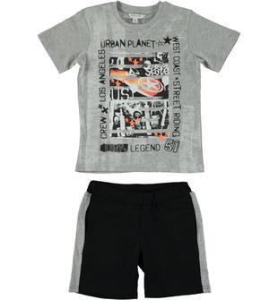 Completo in cotone con t-shirt girocollo stampata e pantaloncino dodipetto GRIGIO-NERO-8067
