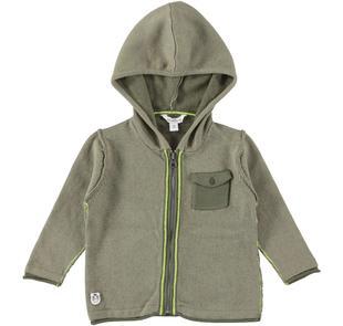 Maglia full zip in tricot misto cotone dodipetto VERDE-VERDE-8232