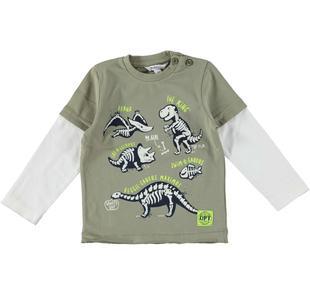 Maglietta 100% cotone con dinosauri e doppia manica dodipetto VERDE MILITARE-5522