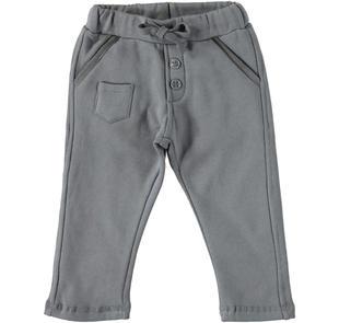 Caldo e pratico pantalone in cotone garzato dodipetto GRIGIO SCURO-0564