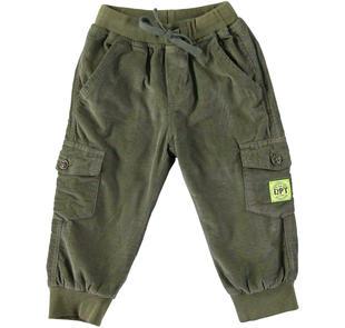 Pantalone modello cargo in velluto 100% cotone dodipetto VERDE MILITARE-5554