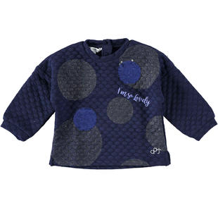Maglietta girocollo matelassé con grandi pois dodipetto NAVY-3854