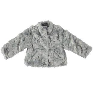Elegante cappottino in ecopelliccia dodipetto GRIGIO-0516