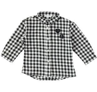 Maxi camicia a quadri con stampa glitterata dodipetto NERO-0658
