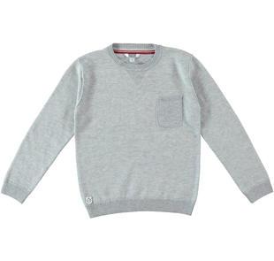 Maglia in tricot fantasia jaquard dodipetto GRIGIO MELANGE-8992