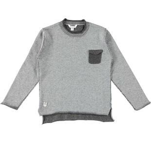 Maglia in tricot con taschino dodipetto GRIGIO MELANGE-8992