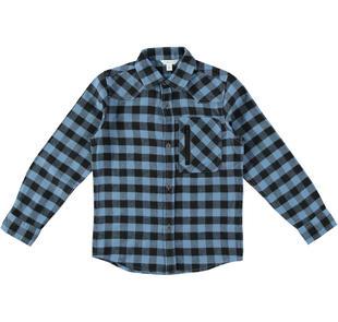 Camicia a quadri 100% cotone dodipetto NERO-0658