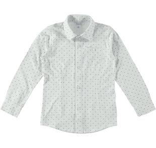 Camicia in jersey stretch micro fantasia dodipetto PANNA-BLU-6Z16