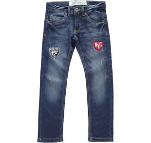 Pantalone in denim stretch con applicazioni dodipetto STONE WASHED-7450
