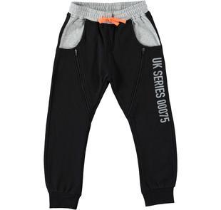 Sportivo pantalone in felpa garzata modello cavallo calato dodipetto NERO-0658