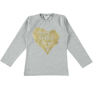 Maglietta girocollo garzata internamente con cuore dodipettobasic GRIGIO MELANGE-8992