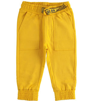 Comodo pantalone in felpa garzata 100% cotone con particolare coulisse  GIALLO-1615