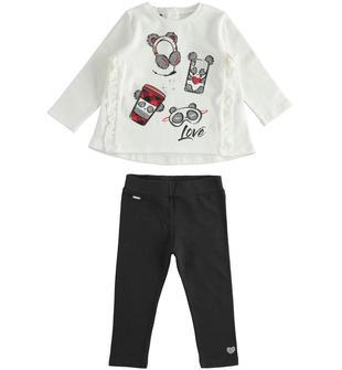 Completo maxi maglia con ruche e leggings  PANNA-0112
