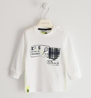 Girocollo in jersey tema tennis  BIANCO-0113