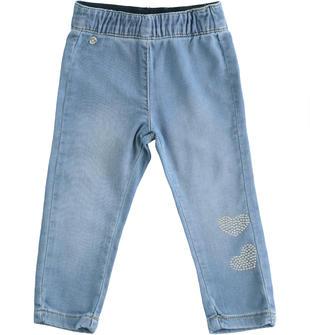 Pantalone in denim maglia con cuori  STONE BLEACH-7350