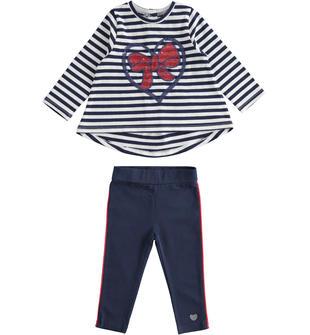 Completo maxi maglia con fiocco e leggings  NAVY-3854