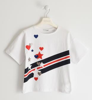 T-shirt con cuori e stelle  BIANCO-0113